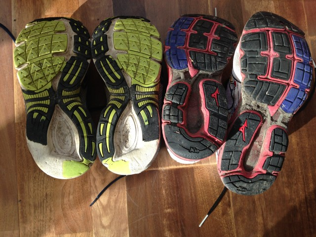 Note the heel wear on the older runners on the left - the runners on the right have done around twice the mileage, but no heel wear through improved running form.